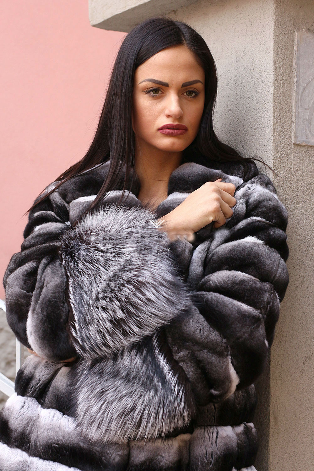 Arlenesain custom real chinchilla fur women x-long coat  136