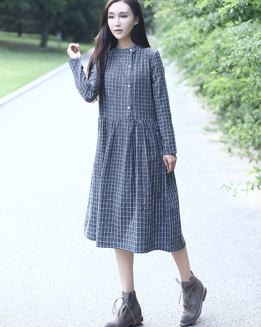 49c0a30a3b23a3 Mori Long Shirt Dress Women Cotton Long Sleeve Tunique Plaid Dress Abiti  Donna Navy Blue Black Vintage Midi Dress