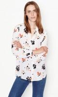Newest EQ 100 Silk Ink Flowers Print Ladies Long Sleeve Blouses Equipment Women Stand Collar Shirt