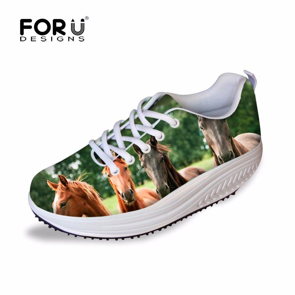 Forudesigns fresco animal caballo cebra impreso casual zapatos mujer primavera l