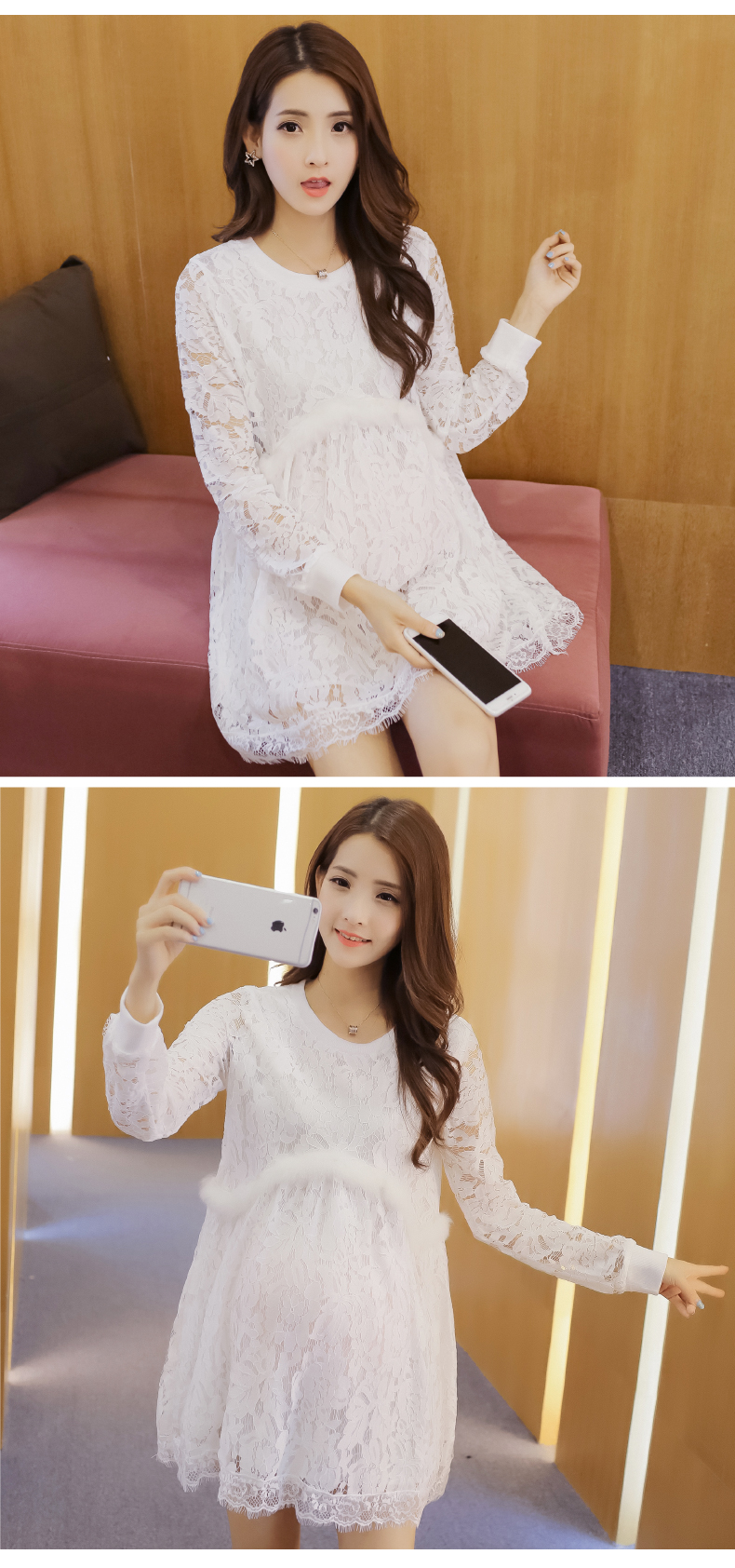 2016 robe de grossesse shooting Pregnant women white lace dress fashion long sleeved maternity gown dress breastfeeding clothes