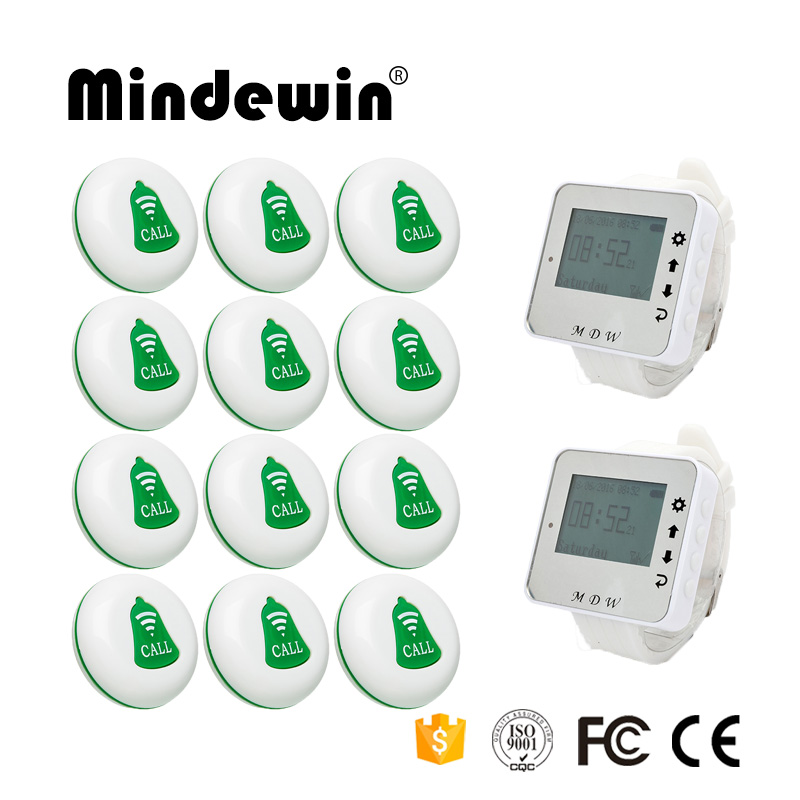 Mindewin Wireless Table Bell Restaurant Call Pager System 2PCS Wrist Watch Pager M-W-1 and 12PCS Table Call Button M-K-1 wireless bell button for table service and pager display receiver showing call number for simple queue wireless call system