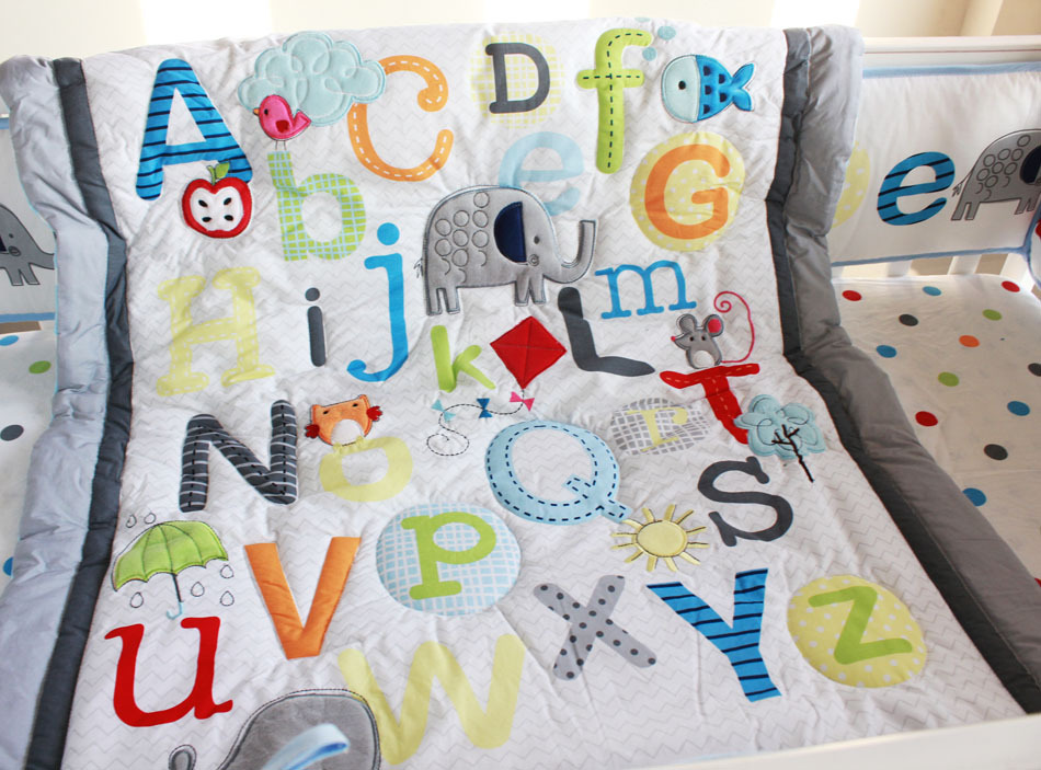 Giol Me Num Letter Embroider 100 Cotton Baby Bedding Set 5 Items Quilt Per Bed Skirt Mattress Cover Blanket In Sets From Mother