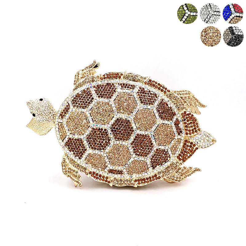 Women evening party bag fashion diamonds luxury tortoise crystal clutch bridal wedding party purse sea Turtle