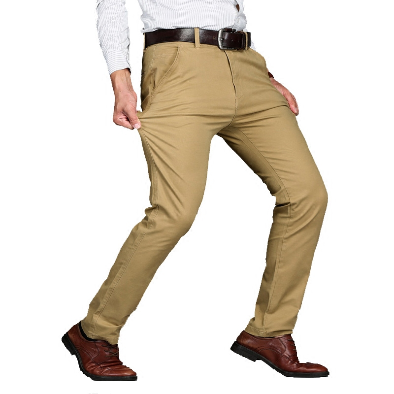 Tops quality Big Size 44 46 New Arrival Mens Casual Business Pants Stretch trousers regular Straight Pant Black Khaki worksuit