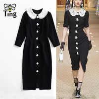 Tingfly Fashion Runway Style Herpburn Vintage Lace Flower Pearl Partchwork Black Dress Lady Elegant Midi Party Dresses Bodycon