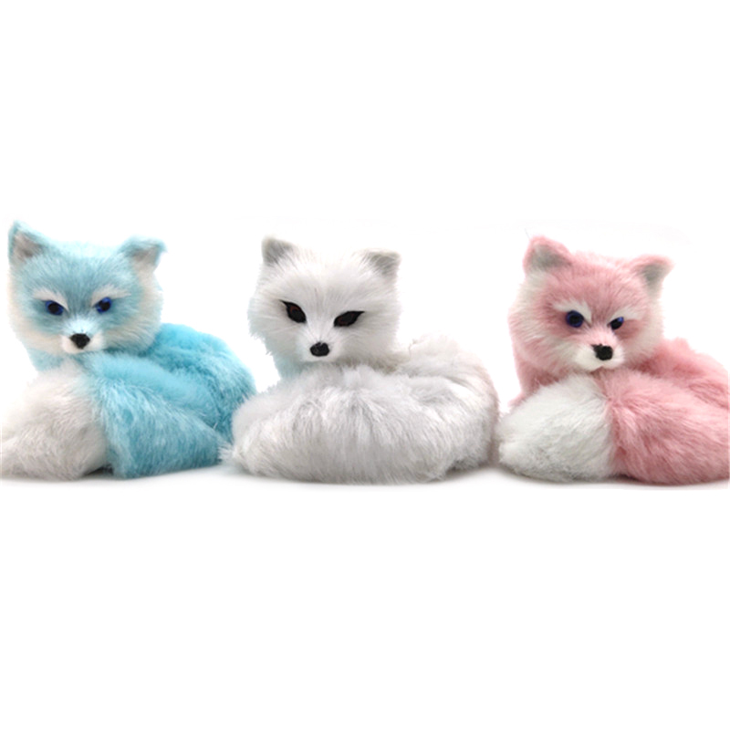 1Pcs Mini Small Simulation Fox Toy Squatting Fox Model Home Decoration Wedding Birthday Gift Stuffed Plush Toys