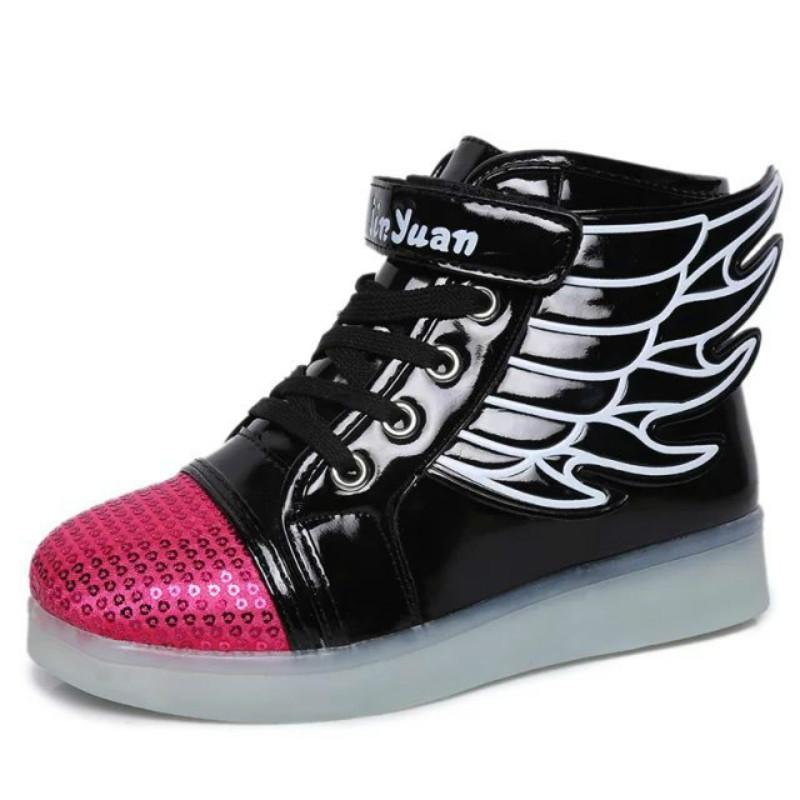 EUR 25-37// Glowing Luminous Sneakers Led Slippers Kids Light Up Shoes Tenis Shoes Krasovki Illuminated Sneakers with Wings ...