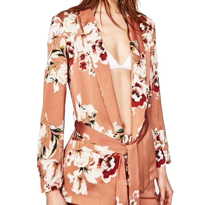 JOYINPARTY Floral Printed Blazer Women 2017 Spring Autumn Fashion Notched Collar Sashes Long Sleeve Coat Women Vintage Blazers