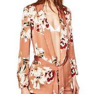 JOYINPARTY Floral Printed Blazer Women 2017 Spring Autumn Fashion Notched Collar Sashes Long Sleeve Coat Women