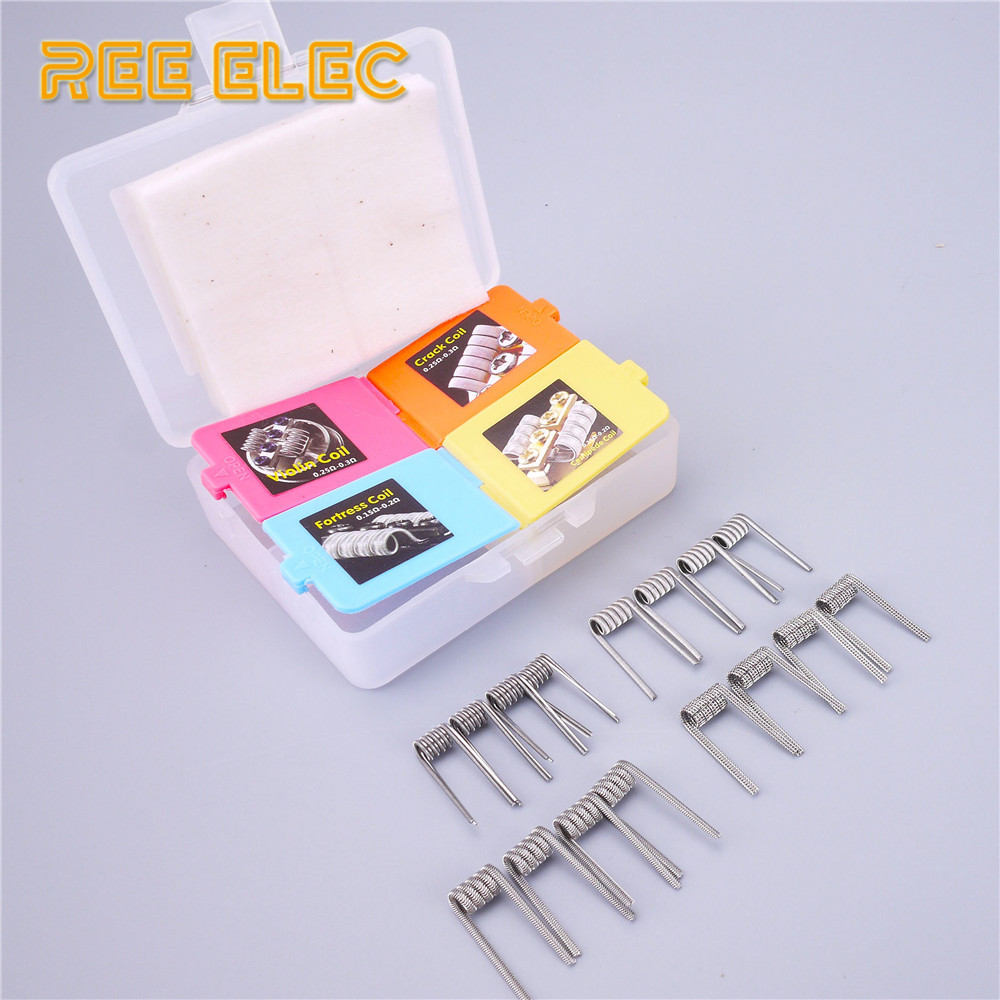 REE ELEC 16pcs Premade Coil+MUJI Organic Cotton Prebuilt Coil Electronic Cigarette Accessories RDA RTA Atomizer Clapton Coils