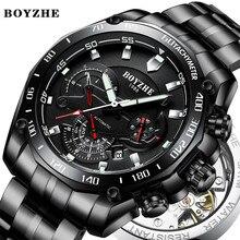BOYZHE Men Automatic Mechanical Watch Luminous Luxury Brand Military Sports Stainless Steel Watches Relogio Masculino