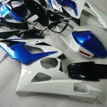 Мотоциклетный вставной обтекатель комплект для SUZUKI GSXR1000 K5 05 06 GSXR 1000 2005 2006 ABS белый черно-голубые обтекатели комплект+ подарки SE30