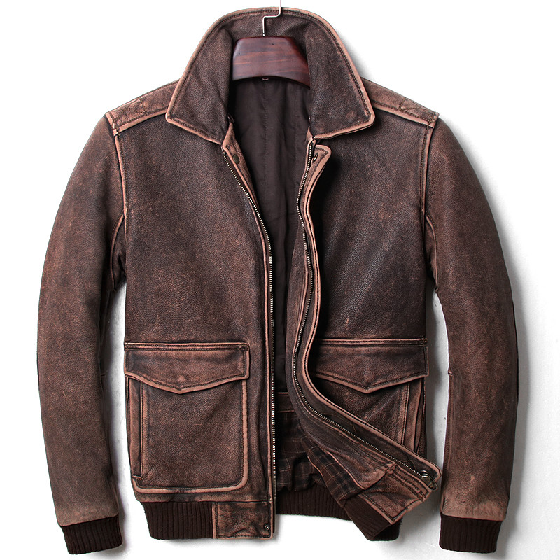 2018 Vintage Brown Men A2 Pilot Leather Jacket Wool Collar Size XXL Genuine Thick Cowhide Russian Aviator Coat FREE SHIPPING