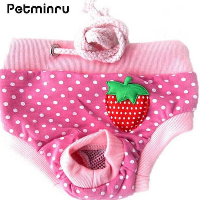 Petminru Female Pet Dog Puppy Sanitary Lovely Pant Short Panty Striped Diaper Underwear Large