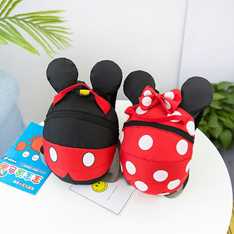 Disney Kindergarten Bag Print Backpack Anti-Lost-Shoulder-Bag Mickey Mouse Children Cartoon