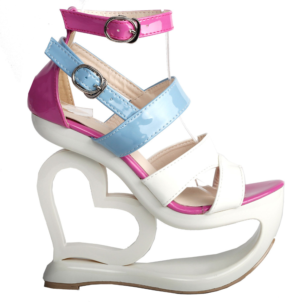 LF40203 Sexy White Pink Blue Strappy Heart Heel Wedge Wedding Sandals Sz 4/5/6/7/8/9/10 lf40203 sexy white pink blue strappy heart heel wedge wedding sandals sz 4 5 6 7 8 9 10
