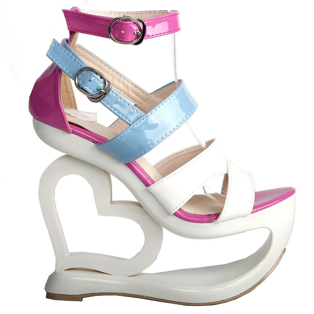 LF40203 Sexy blanc rose bleu à bretelles coeur talon compensé sandales de mariage Sz 4/5/6/7/8/9/10