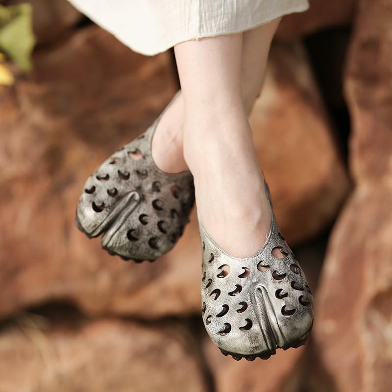 Artdiya 2019 prawdziwej skóry damskie buty Hollow Out ręcznie płaskie Retro zwiększone buty 2028 61 w Damskie buty typu flats od Buty na  Grupa 1
