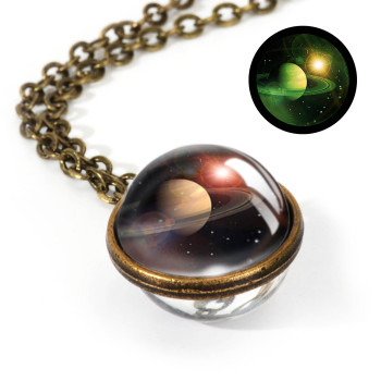 Galaxy Double Sided Pendant Necklace Jewelry Necklaces Women Jewelry Metal Color: LGS0030-Luminous