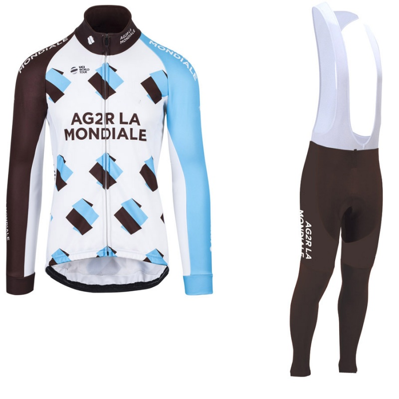 winter fleece 2017 pro team AG2R cycling jerseys long sleeve warmer bike clothing MTB Ropa Ciclismo Bicycle maillot GEL pad male team cycling jerseys autumn cycling clothes long sleeve bike jersey winter fleece bicycle riding suits free shipping
