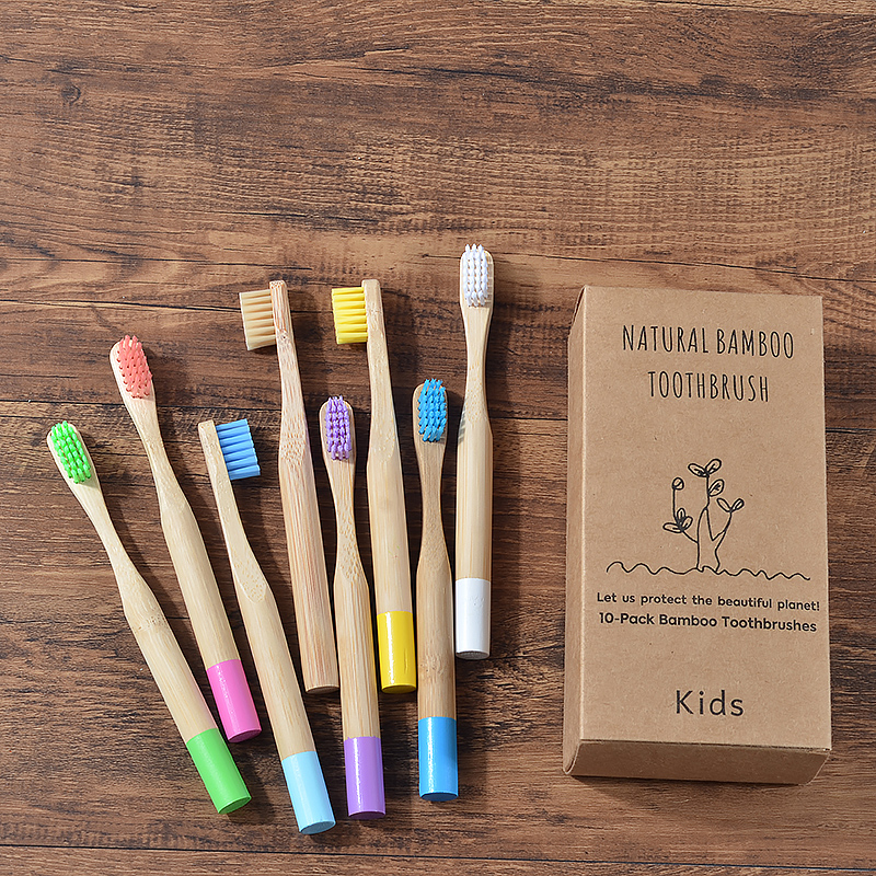 10PC Kids Bamboo Toothbrush Soft Bristles Eco Biodegradable Plastic-Free Oral Care Toothbrush 8 Colors Child Bamboo Toothbrush image
