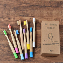 Cepillo de dientes de bambú para niños, cerdas suaves, ecológico, Biodegradable, sin plástico, cuidado bucal, 8 colores, 10 Uds.