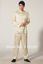Shanghai Story Spring Tai chi suit for Men kungfu suit tradition kungfu clothing Martial Art Jacket Pants Set Gold color(China)