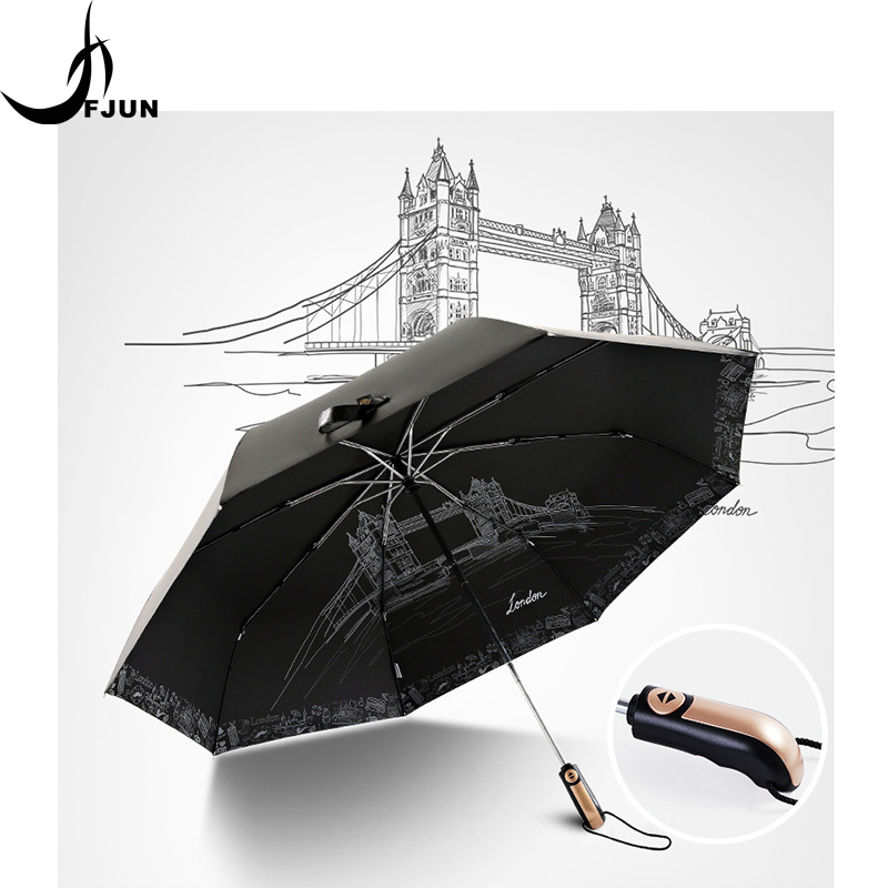 2018 Big Fashion High Quality Business Umbrellas creative golf automatic parasol men 3folding sunscreen Umbrella Male Paraguas