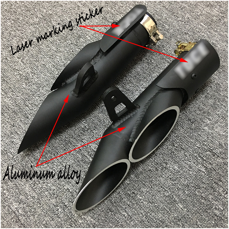 38 51mm Dual outlet Aluminum alloy Exhaust Pipe Modified Motorcycle Left and Right Silencer System For