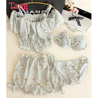 Little Fresh Lolita Control Printed Chiffon Four Piece Small Chest Conservative Swimsuit Girl Wen Quan