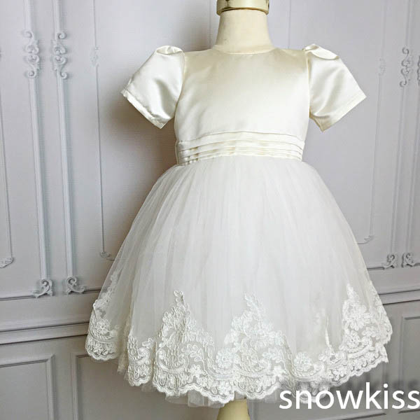 New White/ivory lovely satin flower girls dresses with bow kids beauty first communion ball gowns baby frocks for wedding new white ivory flower girl dresses for wedding 3d flowers puffy tulle with big bow girls first communion gowns