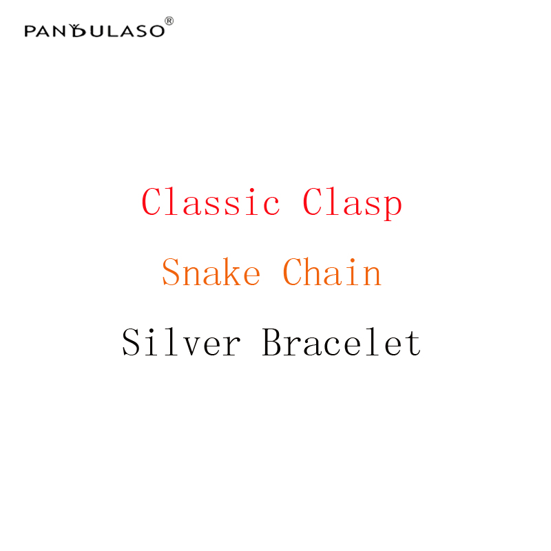 Pandulaso Snake Chain Bracelets With Classic Clasp Starter Bracelets Original Silver 925 Charms Bracelets for Women