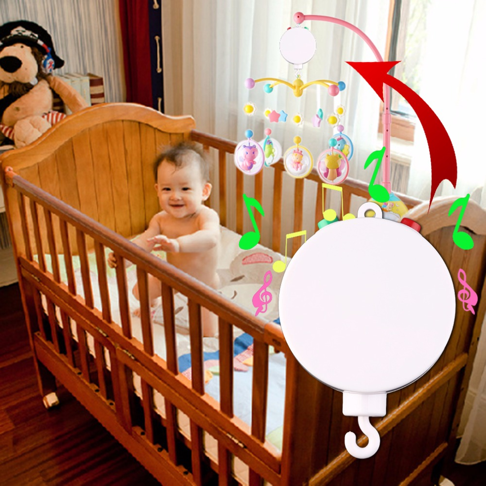 New Baby Crib Mobile Bed Bell Toy Holder Arm Bracket with Wind-up Music Box educational toys ...