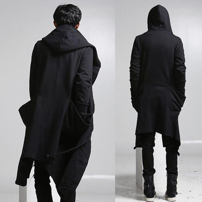 New fashion long trench coat men hip hop black long coat hoodie ...