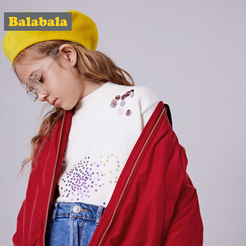 Balabala Girl Side-Striped Sleeve Hooded Jacket with Baseball Collar Teenage Girl Sports Hooded Zip-up Jacket with Slant Pocket