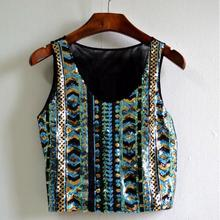 national wind embroidery women exposed umbilical sequins vest female base strap short paragraph shirt