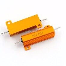 RX24 50W 4R 4RJ Metal Aluminum Case High Power Resistor Golden Metal Shell Case Heatsink Resistance Resistor 4 ohm 50w