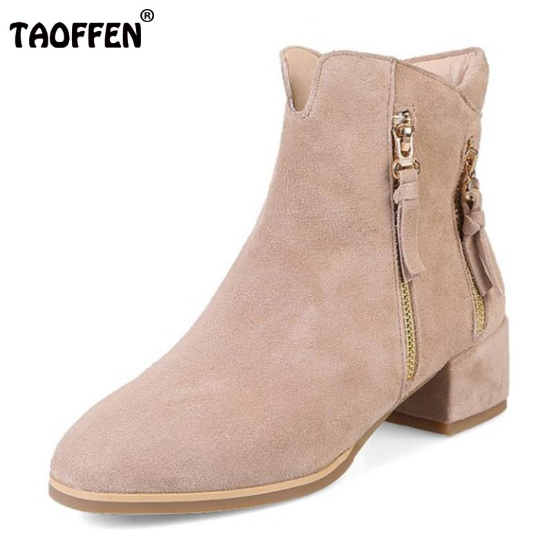 TAOFFEN Lady Real Leather Warm Ankle Boot Women Round Toe Zipper Winter High Heel Shoes Women Sweet Daily Footwears Size 34-39 vinlle women boot square low heel pu leather rivets zipper solid ankle boots western style round lady motorcycle boot size 34 43
