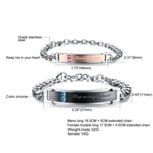 "Romantic ""Keep me in your heart"" Couple Bracelets Full Crystal+Stainless Steel Promiss Bracelets For Lovers"
