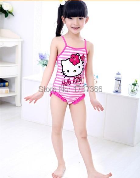 2015 new style hellokitty 1-10 years Children sweeet Swimsuit/Kid Beach Wear/ girl Fashion One-Piece Princess Swimwear - MARS' SMALL WORLD store
