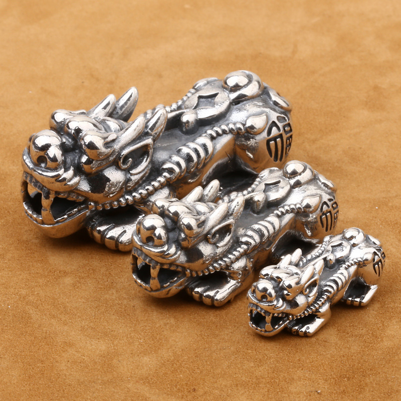 Chinese Good Fortune Wealth Coin 25mm Beads Antique Bronze 4pcs
