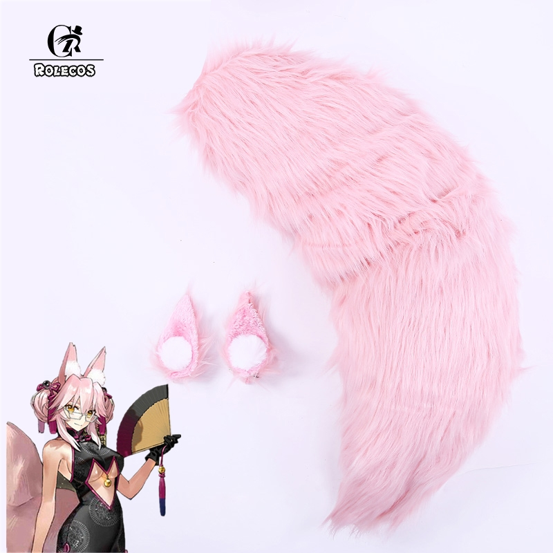 ROLECOS Game Fate Grand Order Cosplay   Headwear   Tamamo no Mae Cosplay Tail FGO Fox Pink Ear Cute Cosplay Accessories Prop