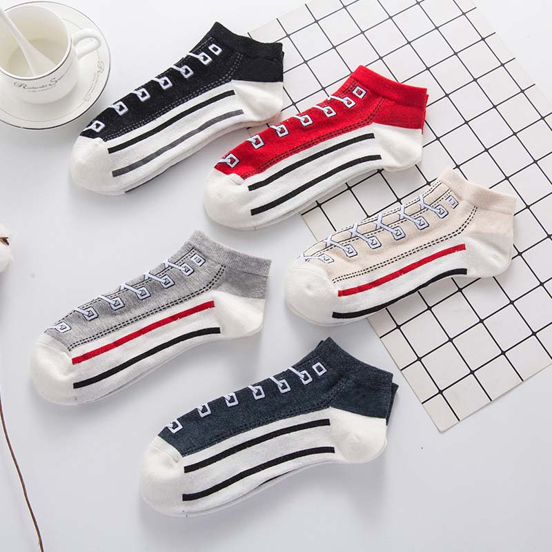 2019 Spring New Socks Men's Cotton Casual Sports Boat Socks College Wind Couple Canvas Socks
