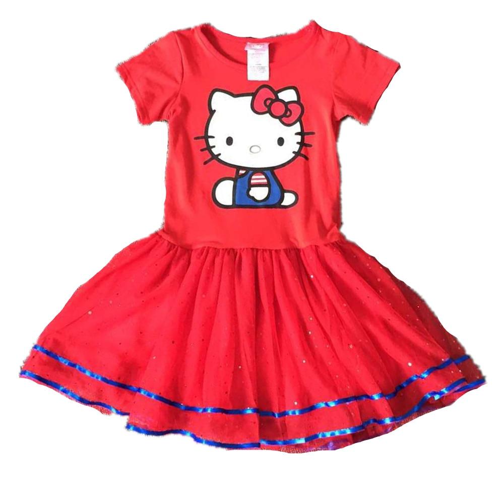 ,6pcs/lot 4-12 yrs little Girls summer Dress,hello kitty dress,girls kitty yarn dress,red dress for big girls