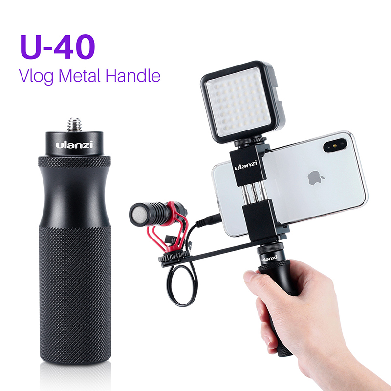Ulanzi U 40 Vlog Metal Handle Grip 1/4 Screw With Extend Arm For Microphone Led Light Audio Video Strong Resistance To Heat And Hard Wearing