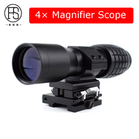 Tactical 4X Magnifier Outdoor Hunting Airsoft Rifle Gun Optics Sight Scope Magnifier Rifle Scope 20mm Rail