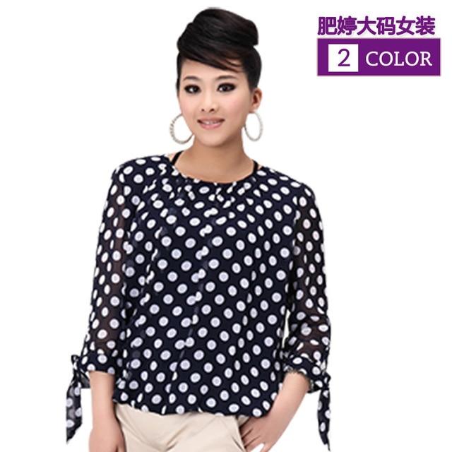 2f0e1bdbaffe70 O Neck Collar Plus Size Blouse Polka Dot Blue/White Three Quarter Sleeve,Fat  Women Clothing XL,XXL,XXXL Summer Tops Tee Hotsale