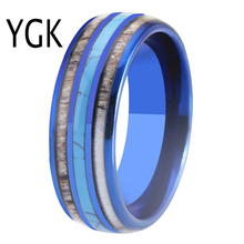Wedding Band Rings Blue Tungsten Rings 8MM Width Antler Turquoise Inlay Ring Charm Party Rings for Women Men's Jewelry недорого