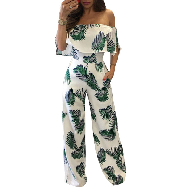 f5abac28f53 Sexy Off Shoulder Women Jumpsuit Romper Ruffles Short Sleeve Print Wide Leg  Pants Playsuit 2018 Strapless Boho Beach Body Suits